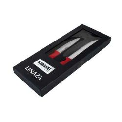 Keramické nože sada 2 nože červená rukojeť, bílé ostří dárkové balení Banquet Linaza