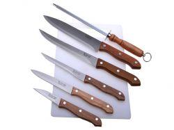 Sada 5 ks nožů + ocilka + krájecí deska plast