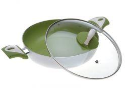 Keramický hrnec - pánev s poklicí, průměr 26 cm výška 5 cm - Zelený keramický povrch