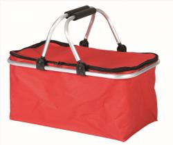 Nákupní košík skládací s víkem dvě madla 45 x 27 x 23 cm červený