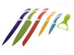 Ocelové nože s keramickým povrchem 5 ks + škrabka
