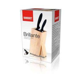 Keramické nože 3 ks Esatto + stojan Brillante se štětinami Banquet