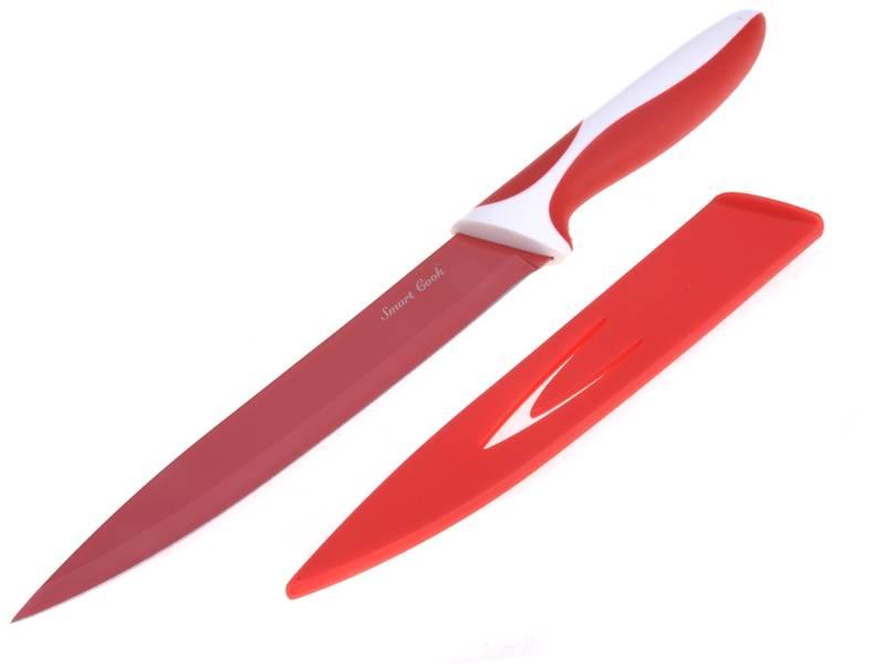 Ocelový nůž s keramickým povlakem Červený 33 cm - nízký - Nože s keramickým povrchem SMART COOK
