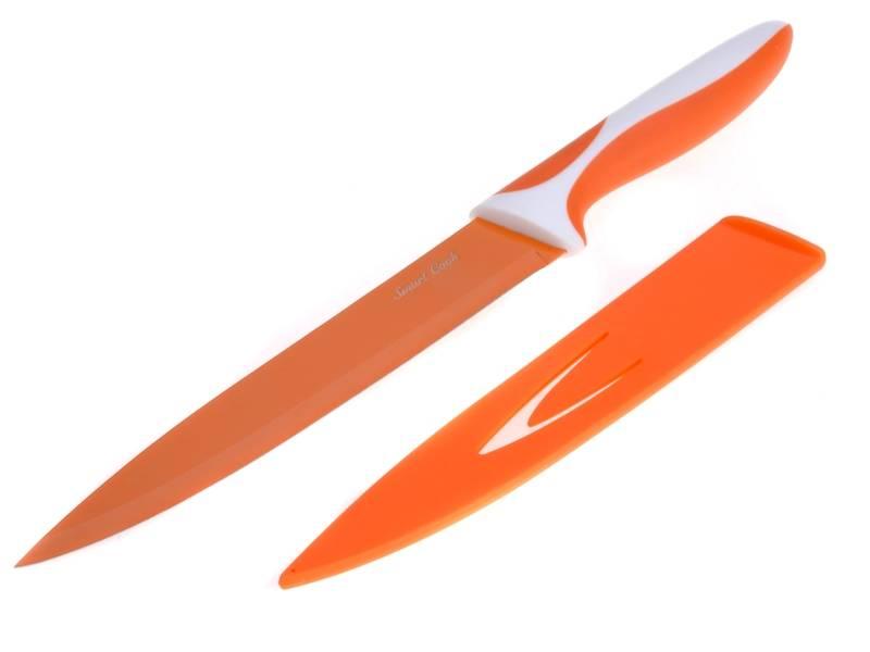 Ocelový nůž s keramickým povlakem Oranžový 33 cm - nízký - Nože s keramickým povrchem SMART COOK