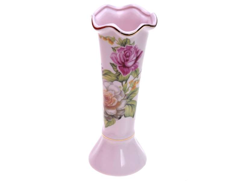 Smart Cook Růžová porcelánová vázička s dekorem