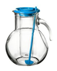 Džbán skleněný 2 l s chladící vložkou na led a míchátkem - modrý