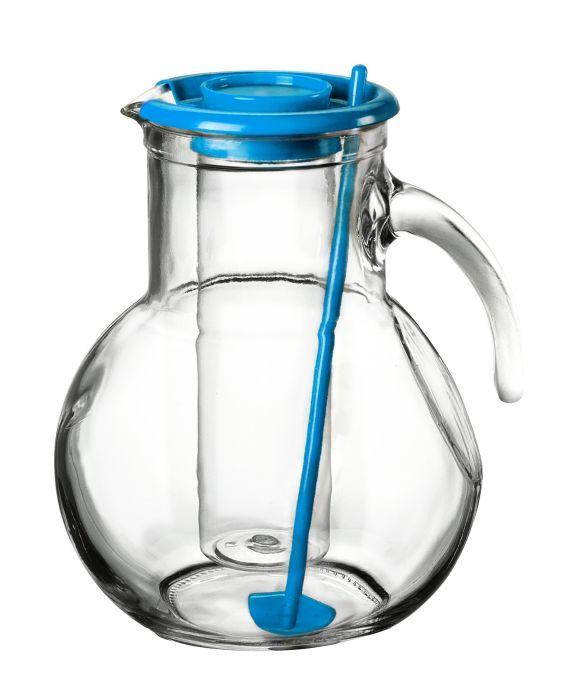 Džbán skleněný 2 l s chladící vložkou na led a míchátkem - modrý Bormioli Rocco