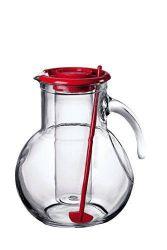 Džbán skleněný 2 l s chladící vložkou a míchátkem - červený