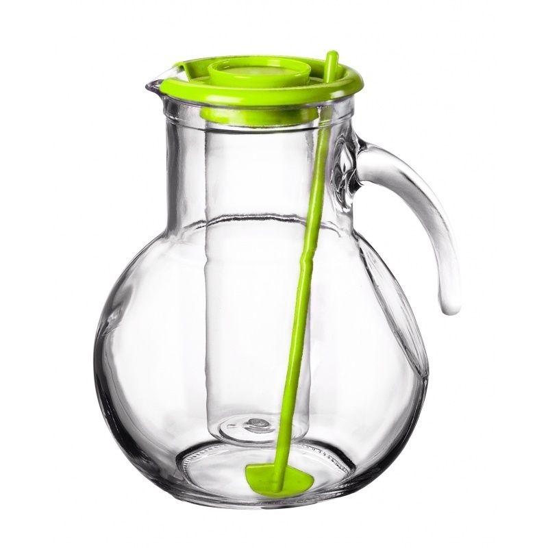 Džbán skleněný 2 l s chladící vložkou na led a míchátkem - zelený Bormioli Rocco