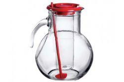 Džbán skleněný 2 l s chladící vložkou na led a míchátkem - červený