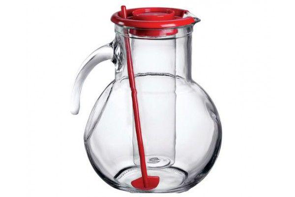 Džbán skleněný 2 l s chladící vložkou na led a míchátkem - červený Bormioli Rocco