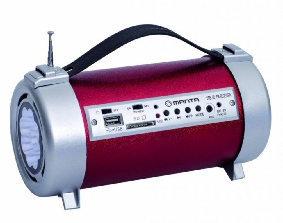 MANTA FM rádio s USB, SD a led svítilnou Manta RDI104