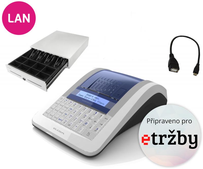 ELCOM Registrační pokladna EURO-150TEi Flexy EET LAN Ethernet + Pokladní zásuvka CD-530 černá