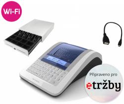 Registrační pokladna EURO-150TEi Flexy EET WIFI  + Pokladní zásuvka CD-530 černá