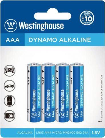 Baterie alkalická Westinghouse AAA/LR3 1,5V Dynamo alkalická, blistr 4ks