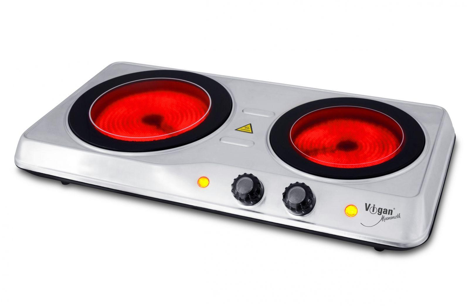 VIGAN Mammoth Dvouplotýnkový sklokeramický vařič VIGAN SKV2X - nerez