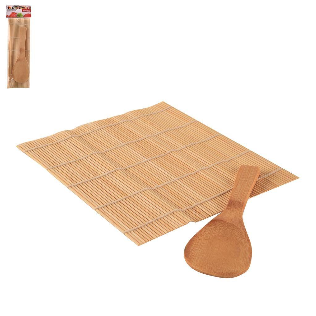 Podložka na sushi a lžíce dřevo