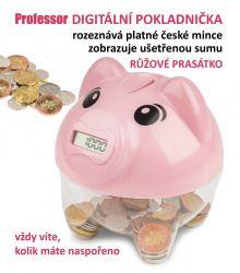 Digitální pokladnička Professor prasátko růžové DP CZK