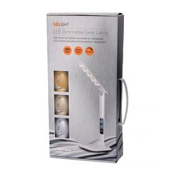 Solight WO43 LED stmívatelná stolní lampička s displejem, 6W, volba teploty světla, bílý lesk