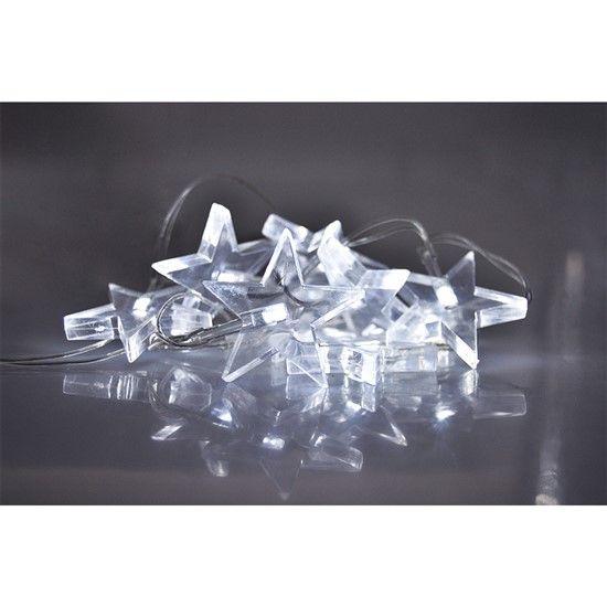 Solight LED vánoční řetěz, hvězdy, 1,5m, 10x LED, 2x AA, bílé světlo 1V52-W