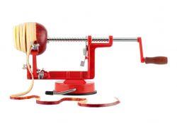 Loupač jablek ruční domácí 3v1, červený, plátky 4 mm, přísavka LT-N4232 R