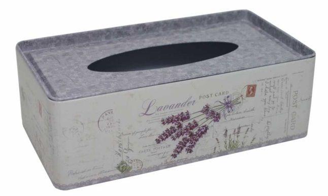 Plechová krabička na tissue Levandule