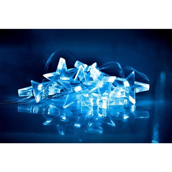 LED vánoční řetěz, hvězdy, 1,5m, 10x LED, 2x AA, bílé světlo - . (1V52W)