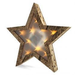 Solight LED dřevěná vánoční hvězda 1V42, 3D efekt světla, 3 x AA , teplá bílá