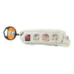 Solight prodlužovací kabel PP11, 3 zásuvky, bílý, vypínač, 2m