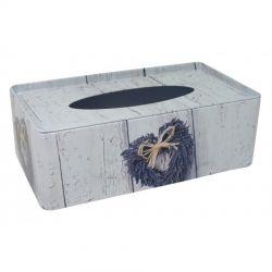 Plechová krabička na kapesníčky Levandule Srdce