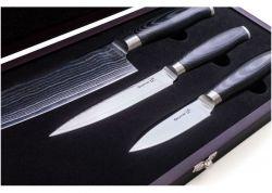 Sada nožů G21 Damascus v bambusovém bloku, 3 ks + brusný kámen