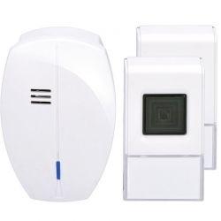 Solight bezdrátový zvonek, 2 tlačítka, do zásuvky, 120m, bílý, learning code
