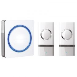 Solight bezdrátový zvonek, 2 tlačítka, do zásuvky, 120m, bílý