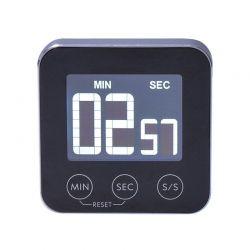 Solight digitální kuchyňská minutka, odpočítání nebo přičítání času, hliník, černá barva