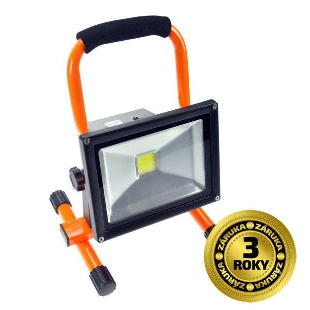 Solight LED reflektor 20W, přenosný, nabíjecí, 1600lm, oranžovo-černý WM-20W-D