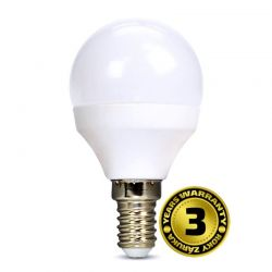 Solight LED žárovka, miniglobe, 8W, E14, 3000K, 720lm, bílé provedení