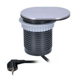 Solight 1x vestavná zásuvka + 1x USB s posuvným víčkem, oválný kryt z broušeného hliníku, prodlužovací přívod 1,9m, USB 2400mA