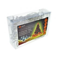 Solight 1V52-B LED vánoční řetěz, hvězdy, 1,5m, 10x LED, 2x AA, modré světlo