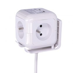 Solight prodlužovací přívod - kostka, 4 zásuvky 230V + 2x USB max. 2400mA, kabel 2m