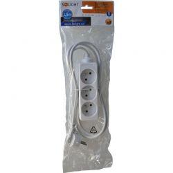 Solight prodlužovací přívod, 3 zásuvky, bílý, 1,5m