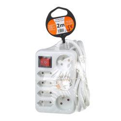 Solight prodlužovací přívod, 7 zásuvek, bílý, vypínač, 2m