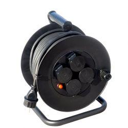 Solight prodlužovací přívod na bubnu, 4 zásuvky, venkovní, 50m gumový kabel, 3x 1,5mm2, IP44