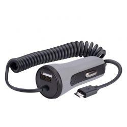 Solight USB nabíjecí autoadaptér, 1x USB, 1x micro USB kabel,  3400mA max., DC 12-24V, černošedý