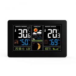 Solight meteostanice, extra velký barevný LCD, teplota, vlhkost, tlak, RCC, USb nabíjení, černá