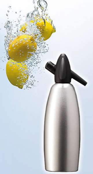 KAYSER Láhev na sifon stříbrná - Láhev 1 l na výrobu sody Kayser