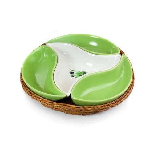 Mísa 4 dílná v košíku 23 cm Black Olive Banquet