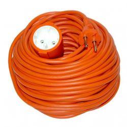 Solight prodlužovací kabel - spojka, 1 zásuvka, oranžová, plochá, 30m