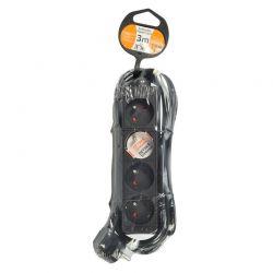 Solight prodlužovací přívod, 4 zásuvky, černý, 3m