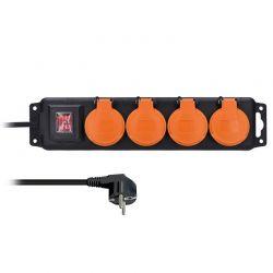 Solight prodlužovací přívod IP44, 4 zásuvky, vypínač, venkovní, 3m