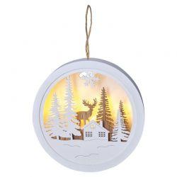 Solight LED dekorace závěsná, les a jelen, bílá a hnědá, 2x AAA